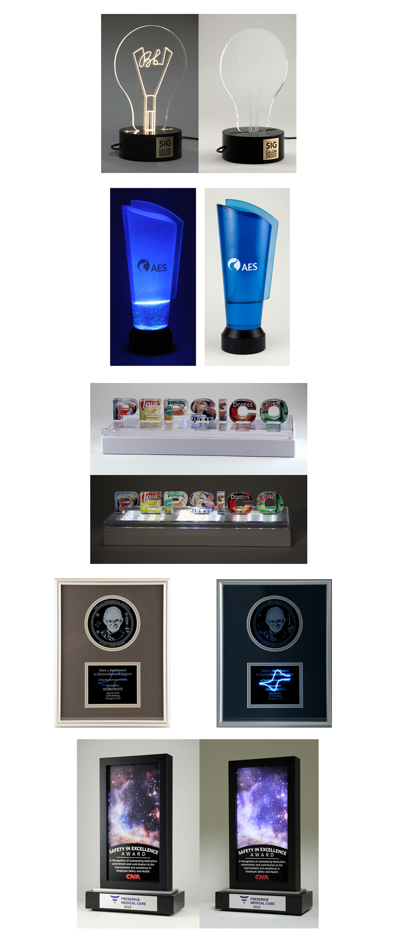 Custom Lighted elements or awards