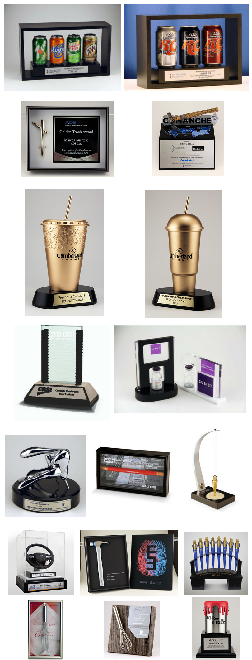 Real products or minis as awards