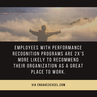 Employees with performance recognition programs are 2xs more likely to recommend their organization as a great place to work