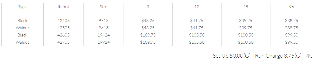 Quick Frame pricing