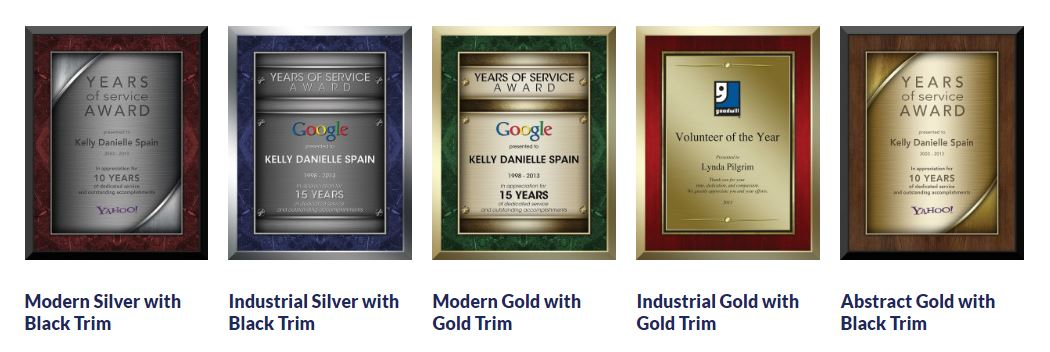 Precious Metal Plaques with description