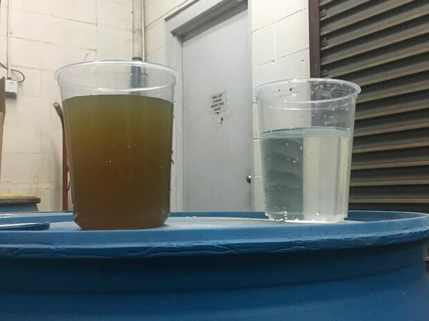 Before and after water treatment process